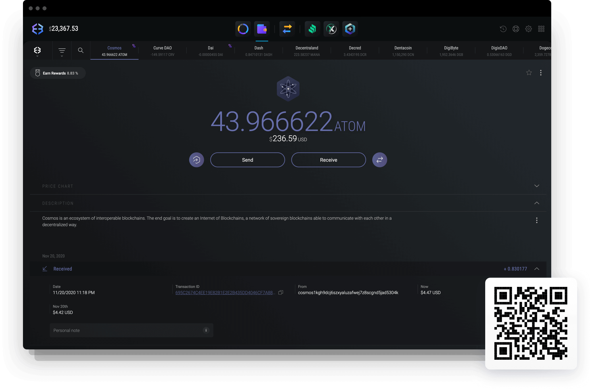 Send and receive Cosmos with Exodus Cosmos wallet