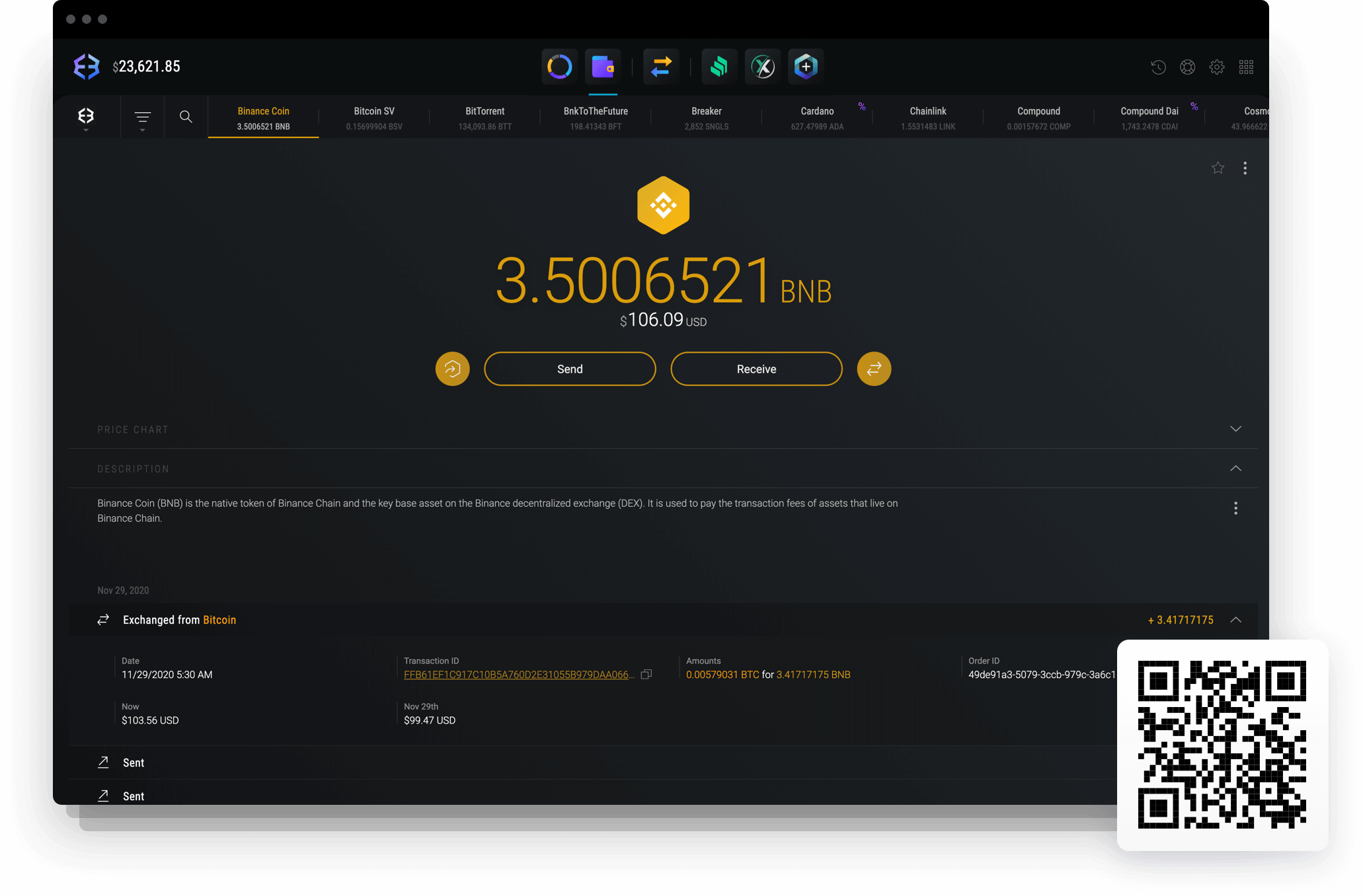 Send and receive Binance Coin with Exodus Binance Coin wallet