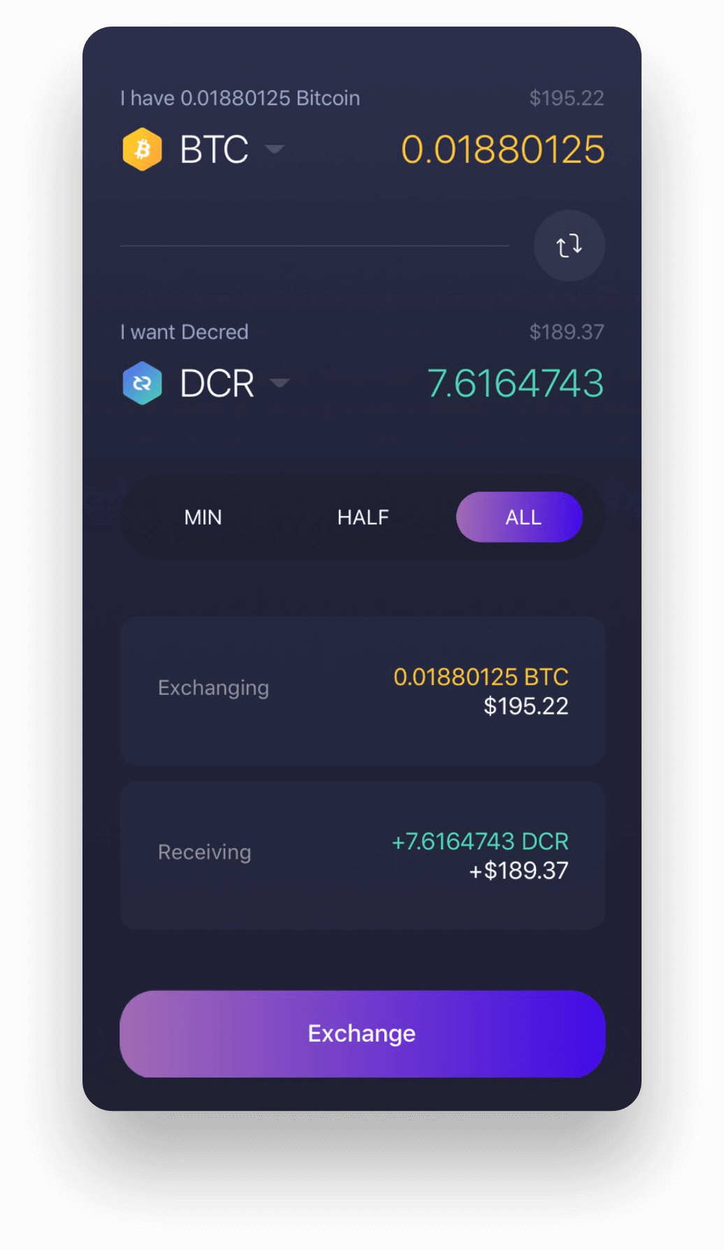 Experience Decred on Exodus Decred mobile wallet