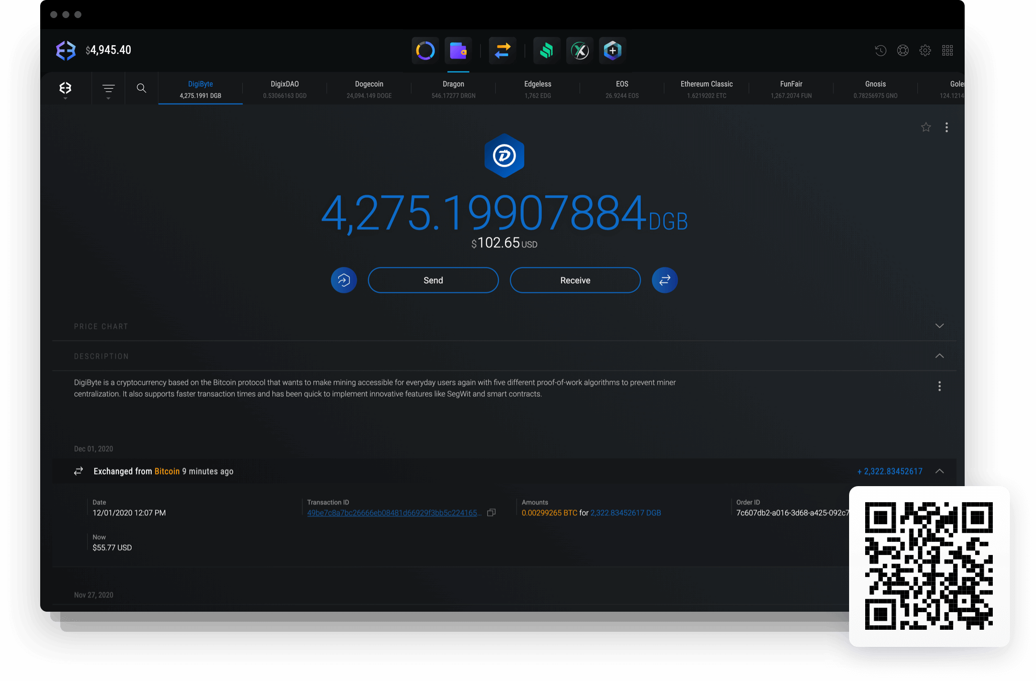 Send and receive DigiByte with Exodus DigiByte wallet