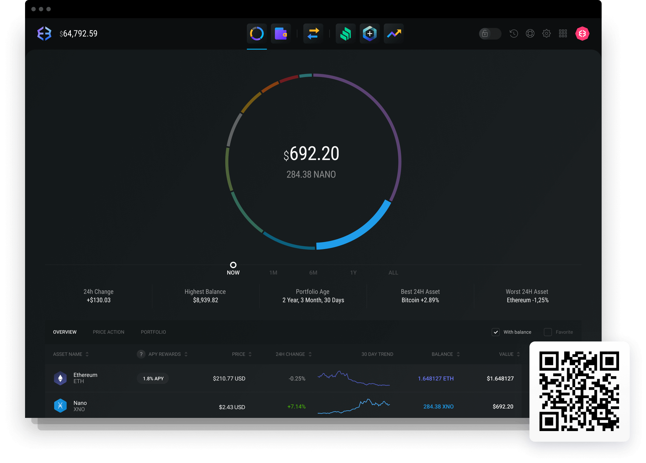 Exodus Nano wallet with portfolio data and charts.