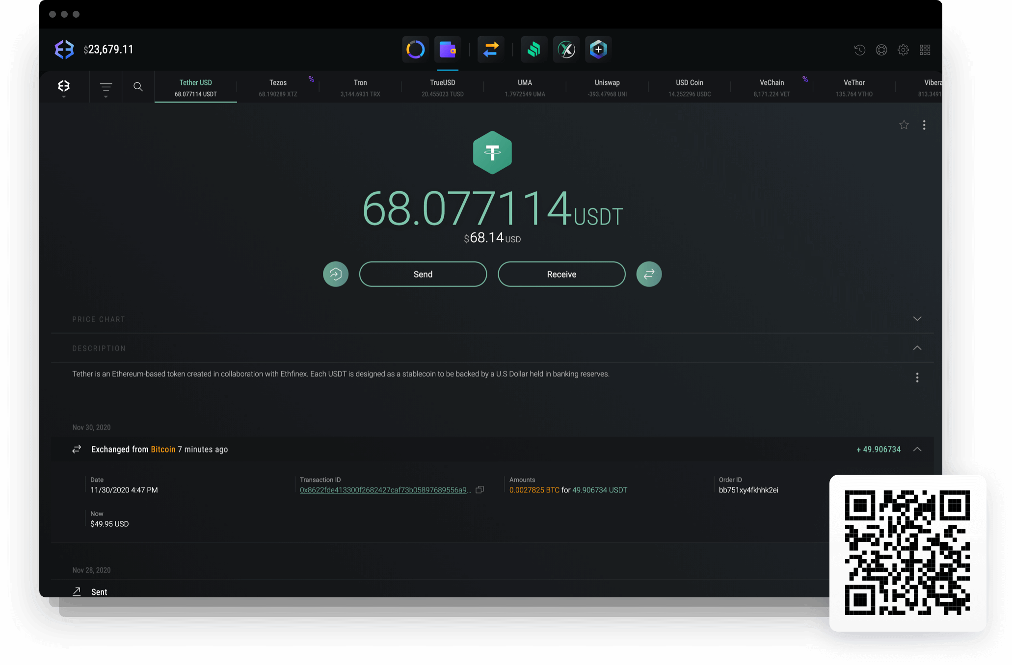 Send and receive Tether with Exodus Tether wallet