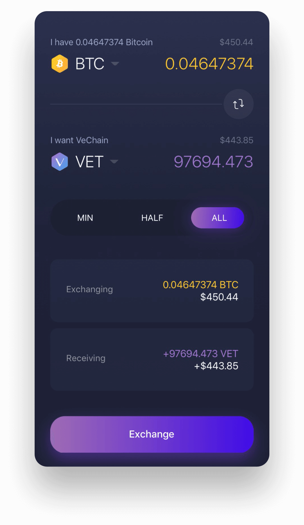 Experience VeChain on Exodus VeChain mobile wallet